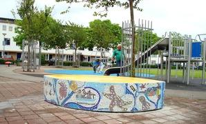 Foto's van Huizen en straten uit Amsterdam - Zeebruggeplein mozaiek april 2012