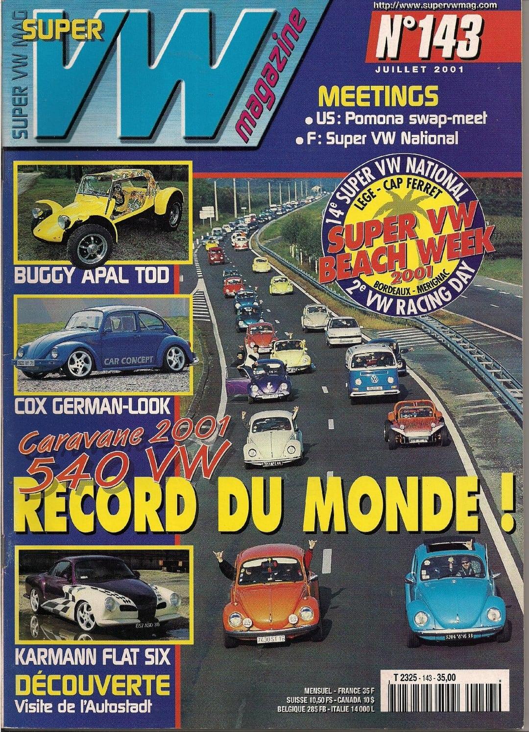 super vw magazine n 143 caravane 2001 540 vw record du monde juillet 2001 ebay. Black Bedroom Furniture Sets. Home Design Ideas