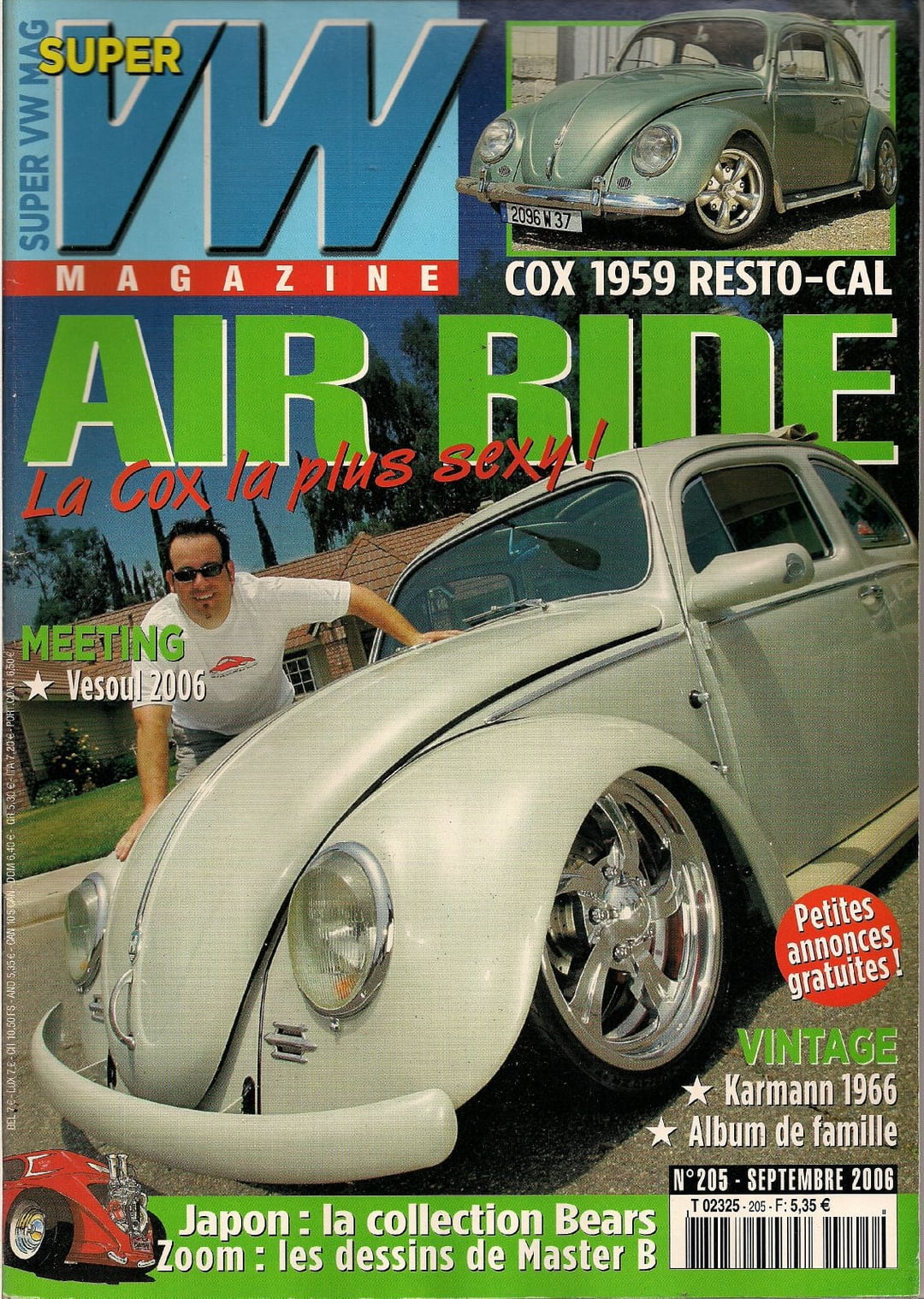 super vw magazine n 205 air ride cox 1959 resto cal septembre 2006 ebay. Black Bedroom Furniture Sets. Home Design Ideas
