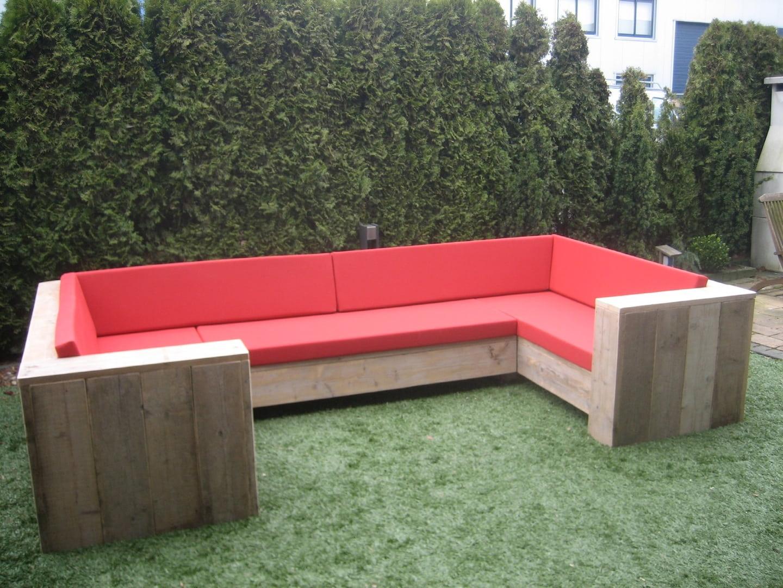 Steigerhouten U - loungebank