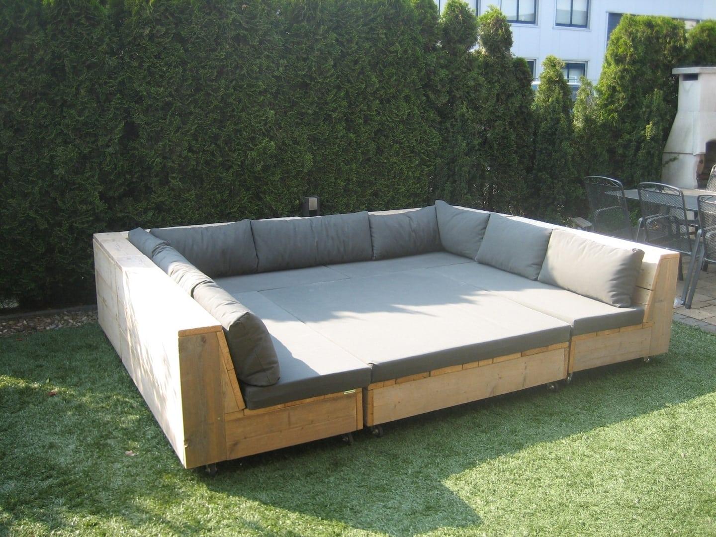 Steigerhouten winkelinrichting tafel meubels lounge hoek bank bed kast tuinhuisjes 7 - Moderne hoek lounge ...