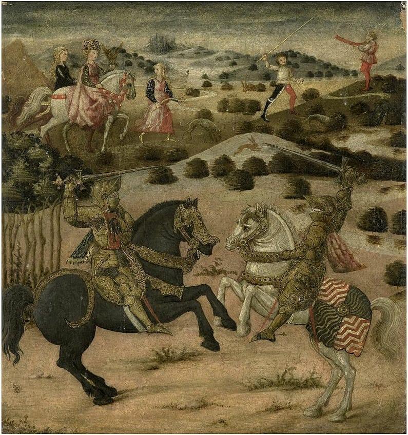 Eindstuk van een cassone met een voorstelling uit een ridderlegende. Op de voorgrond in een landschap strijden twee ridders te paard met opgeheven zwaarden. Op de achtergrond een jachtscène met twee vrouwen te paard.