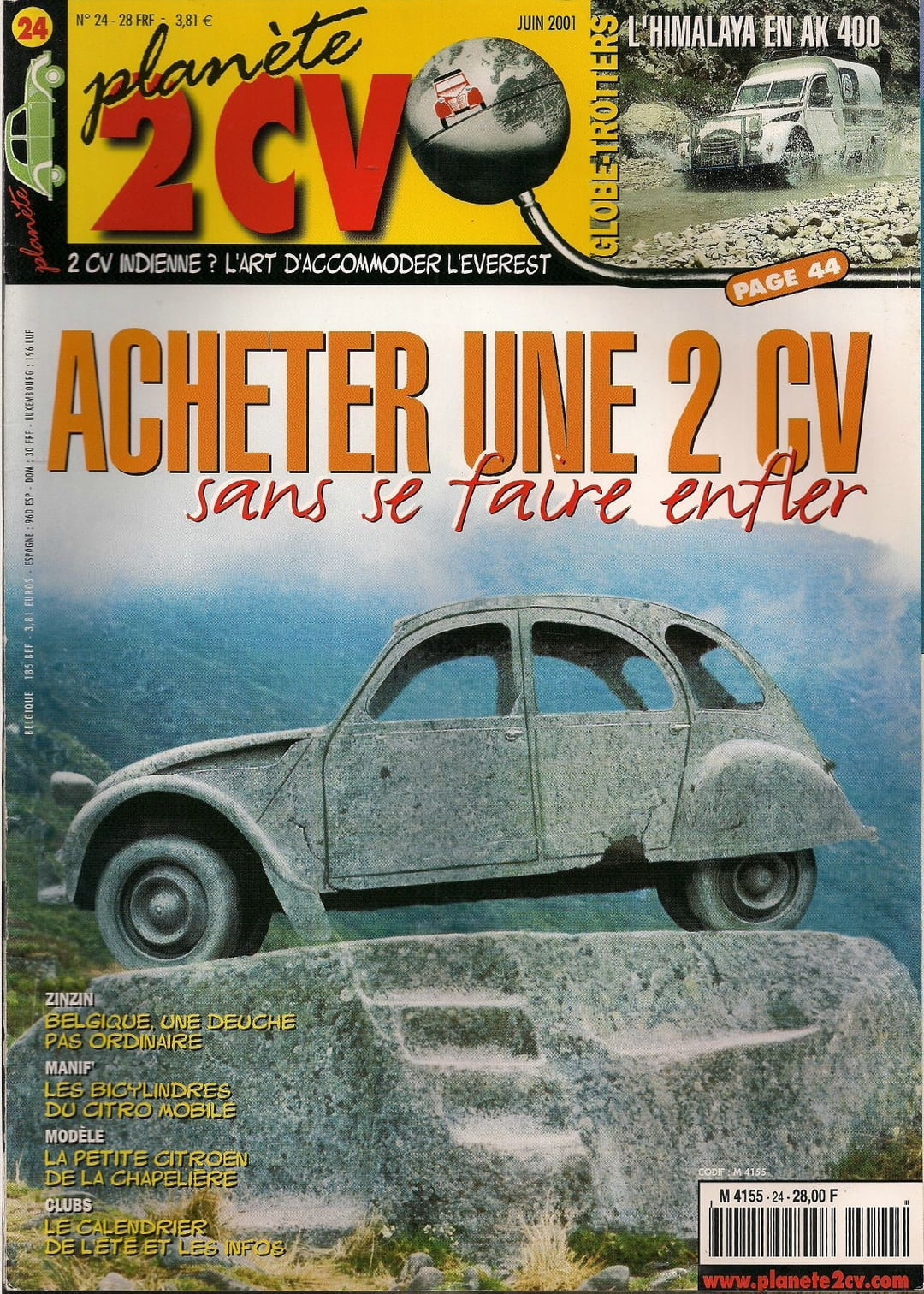 planete 2cv n 24 acheter une 2cv sans se faire enfler juin 2001 ebay. Black Bedroom Furniture Sets. Home Design Ideas
