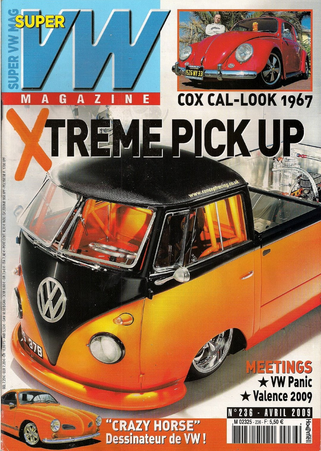 super vw magazine n 236 xtreme pick up cox cal look 1967 avril 2009 ebay. Black Bedroom Furniture Sets. Home Design Ideas