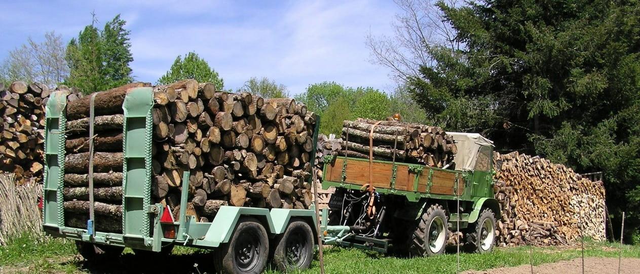 Unimog 411 et remorque forestière 1k0