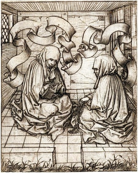 Twee nonnen zittend op de grond in een kloostercel. prentmaker - Meester van het Amsterdamse Kabinet