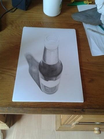 3d bierflesje wip tekenen en schilderen for Tekenen 3d
