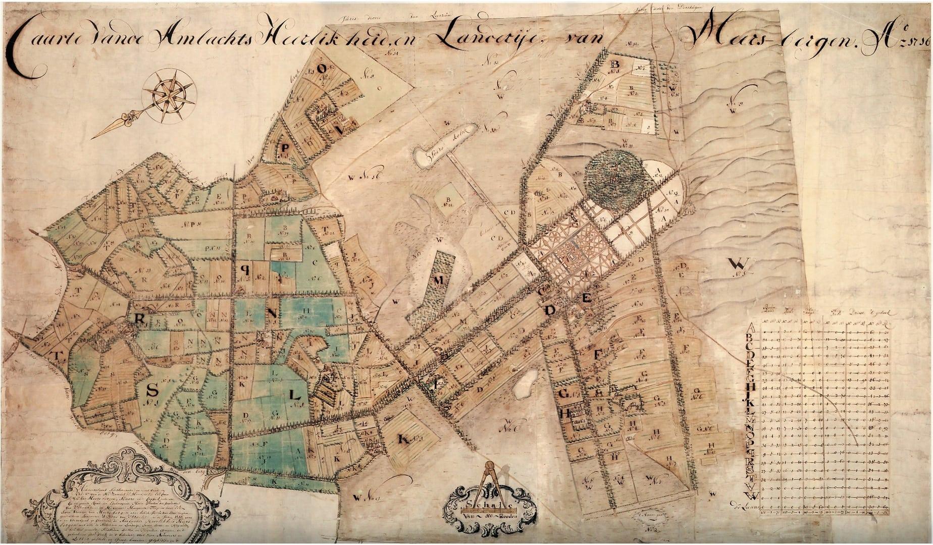 De kaart van Justus van Broeckhuijsen met de 19 pachthoeven uit 1716. Deze geeft een goed beeld van het agrarisch grondgebruik in Maarsbergen, zoals dat al in de middeleeuwen was ontstaan en tot in de negentiende eeuw nauwelijks veranderde.
