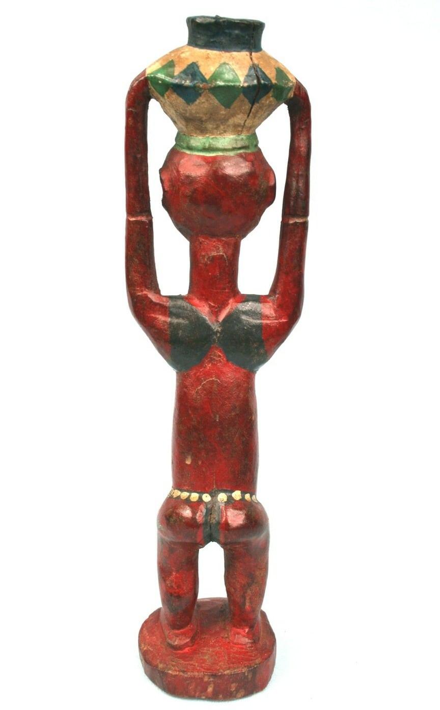 Art africain ancien colon yohoure femme en maillot de bain portant une jarre ebay - Portant vetement bois ancien ...
