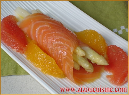 Asperges blanches vinaigrette ti de aux agrumes et saumon for Hors d oeuvre avec saumon fume