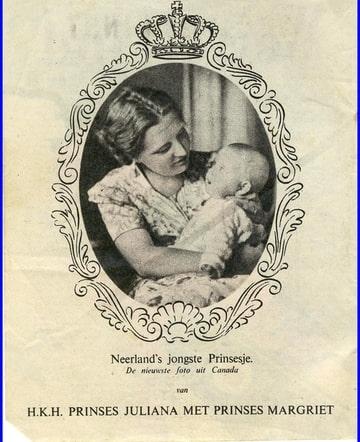 De Wervelwind 13 uit de tweede wereldoorlog Prinses Juliana met prinses Margriet.