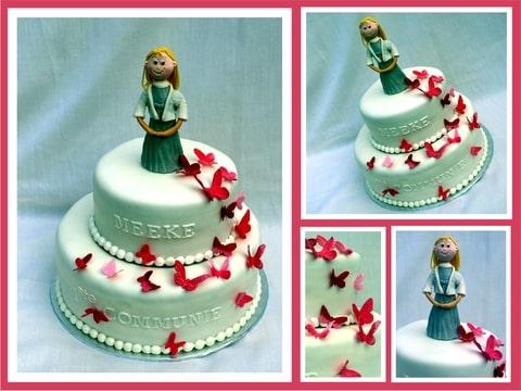 movin taart Communie taart met roze Vlinders (Pagina 1)   Bruids  en  movin taart