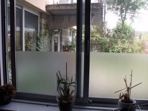 het raam dat je hier buiten links ziet is het slaapkamerraam van de buren met daarnaast dus hun deur naar de tuin toe