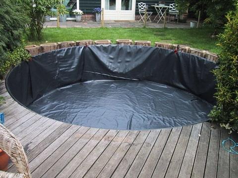 Zelf zwembad maken vijverfolie
