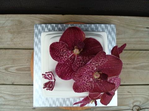 besondere anl sse 1 weisse hochzeitstorte mit aubergine real orchideeen. Black Bedroom Furniture Sets. Home Design Ideas