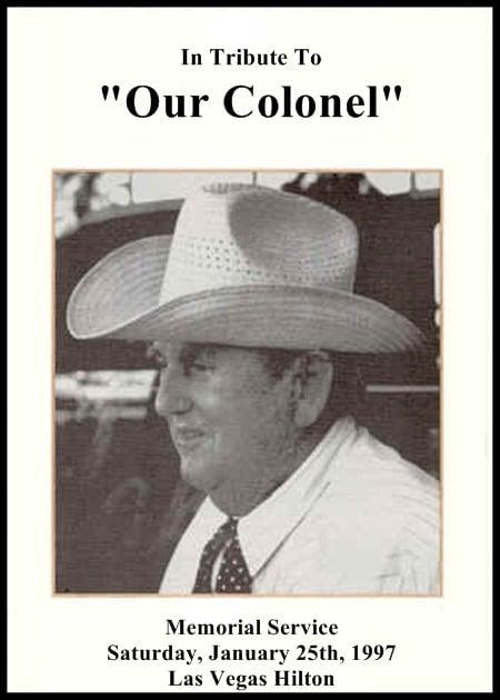 Voorkant rouwkaart Colonel Tom Parker