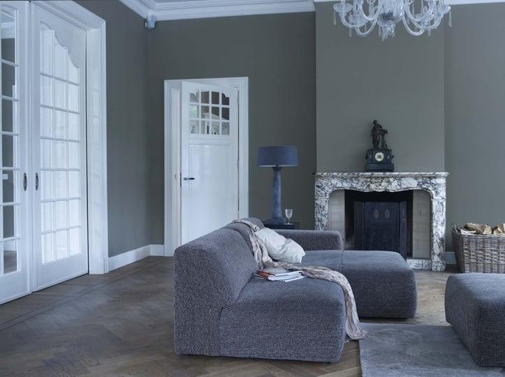 Blauwe Verf Slaapkamer: Grijze slaapkamer muur taupe verf ...