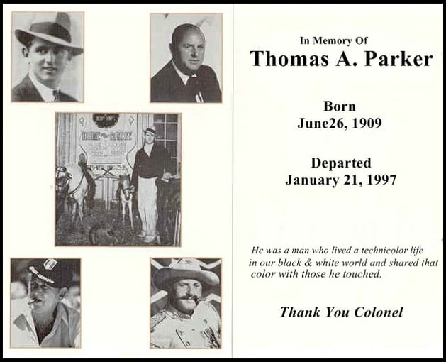 Binnenkant rouwkaart Colonel Tom Parker