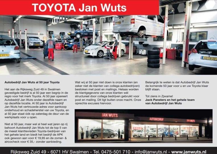 50 jaar toyota nederland Toyota Verso S voor 16.950 euro bij Autobedrijf Jan Wuts in SWALMEN 50 jaar toyota nederland